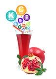 Pomegranate juice and vitamins Stock Photo