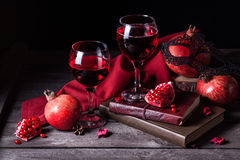 Pomegranate juice in wine glasses Stock Photos