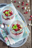 Pomegranate and kiwi chia seeds pudding Royalty Free Stock Photo