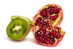 Pomegranate and Kiwi fruit Stock Photos