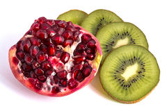 Pomegranate and kiwi Royalty Free Stock Images