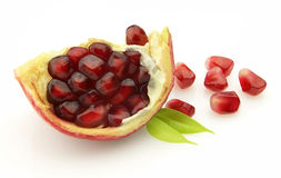 Pomegranate with leaves Stock Photography