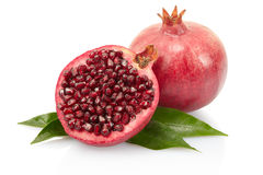 Pomegranate with leaves Stock Images