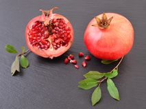 Pomegranate with leaves. Stock Photography