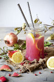 Pomegranate and lemon smoothie on glass jar with two striped straw on rustic background Stock Photos