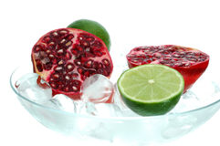 Pomegranate and lime Royalty Free Stock Photos