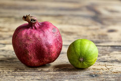 Pomegranate and Lime Fruit Stock Photos