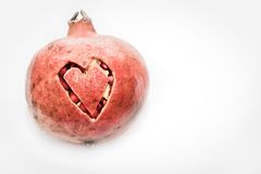Pomegranate love heart cut Stock Image
