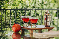 Pomegranate martinis. Served outdoors in a natural environment Royalty Free Stock Images
