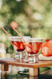 Pomegranate martinis. Served outdoors in a natural environment Royalty Free Stock Photography