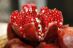 Pomegranate Open, Cores, Fruit Royalty Free Stock Image