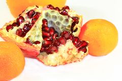 Pomegranate and orange. The red ripe pomegranate and trhee oranges photographed on the white background Royalty Free Stock Image