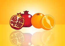 Pomegranate and orange Stock Photos