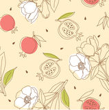 Pomegranate Pattern With Flower Stock Photography
