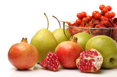 Pomegranate and pear Stock Photography