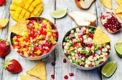 Pomegranate pear and strawberry mango pepper salsa Royalty Free Stock Photography