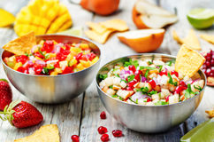 Pomegranate pear and strawberry mango pepper salsa Royalty Free Stock Images