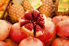 Pomegranate & pineapple. Pomegranate slices and seeds fruits Stock Photography