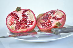 Pomegranate. S. Still life. Grains are visible Stock Photos