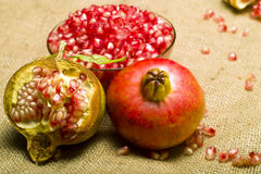 Pomegranate (Punica granatum). Fruit o natural sheet Stock Photo