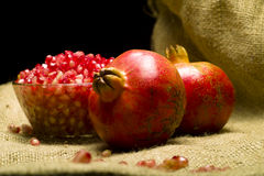 Pomegranate (Punica granatum). Fruit o natural sheet Stock Photography