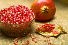 Pomegranate (Punica granatum). Fruit o natural sheet Royalty Free Stock Images