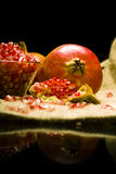 Pomegranate (Punica granatum). Fruit o natural sheet Stock Photos