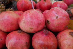 Pomegranate. Red ripe pomegranate fruis on a market Royalty Free Stock Photo