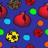 Pomegranate seamless pattern. Seamless color pomegranate pattern illustration stock illustration