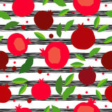 Pomegranate seamless pattern. Garnet fruit endless background. Textile rapport Royalty Free Stock Image