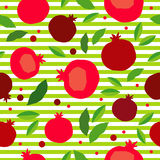Pomegranate seamless pattern. Garnet fruit endless background. Textile rapport Stock Photo