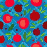 Pomegranate seamless pattern. Garnet fruit endless background. Textile rapport Stock Photos