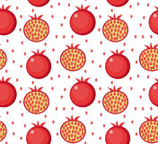 Pomegranate seamless pattern. Garnet fruit endless background, texture. Fruits background. Vector illustration. Stock Photography