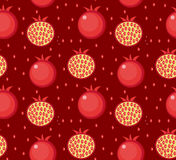 Pomegranate seamless pattern. Garnet fruit endless background, texture.. Fruits background. Vector illustration Stock Photo