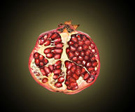 Pomegranate section. Isolated on black background stock photos