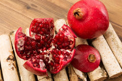 Pomegranate sections Stock Photo