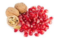 Pomegranate seed pile and nuts Stock Photography