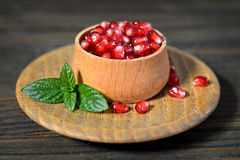 Pomegranate seeds in a bowl Royalty Free Stock Images