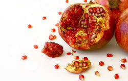 Pomegranate seeds with crumbled. Ripe pomegranate seeds with crumbled Stock Photo