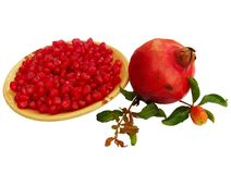 Pomegranate seeds and fruit Stock Photography