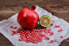 Pomegranate seeds, ruby grain Stock Image