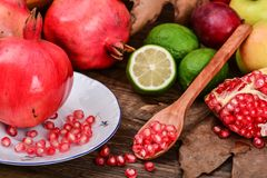 Pomegranate seeds, ruby grain Royalty Free Stock Photo