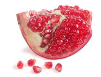 Pomegranate segment  isolated on white. Background stock image