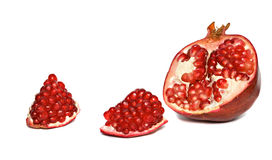 Pomegranate segments and cross-section Stock Image