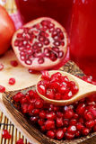 Pomegranate Set. Good healthy by Pomegranate seed on wooden spoon and cool Pomegranate juice set on red Themes tone background. Royalty Free Stock Photography