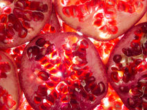 Pomegranate slices lit from below. Fresh pomegranate slices lit from below Stock Image