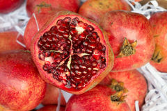 Pomegranate slices and seeds Stock Image