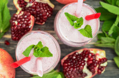 Pomegranate smoothie in glasses Stock Photography