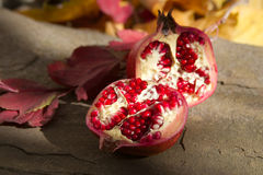 Pomegranate still life. Close up of a pomegranate fruit surrounded by fall colored leaves, nuts adn berries. focus on the pomegranate. Other items strongly out Stock Photos