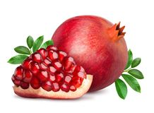 Pomegranate fruit isolated on white. Pomegranate t with slice isolated on white background. Clipping path included royalty free stock image